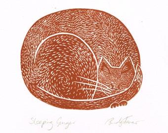 Original Lino Print of Sleeping Ginger Cat, Printmaking, Linocut, Ginger Cat, Original Print
