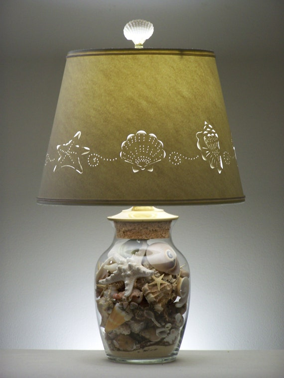 add your own seashell lamp fillable lamp shell lamp seashells lamps lighting paper lampshade pierced lampshade fillable - Fillable Lamp
