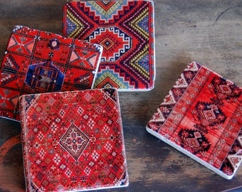 Kilim stone coasters (set of 4)
