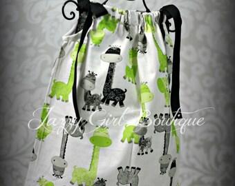 Girls Pillowcase Dress Baby Girrafe Fabric with Black Ribbon Ties Sz 6mo, 12mo, 18mo, 2T, 3T, 4T, 5 Sz 6, 7, 8 Three Dollars Mor