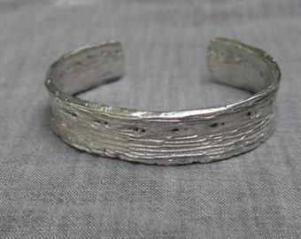 Large cactus bark cuff bracelet - silver