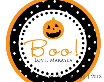 Halloween Pumpkin Jack O Lantern Thank You PERSONALIZED Stickers, Tags, Labels, or Cupcake Toppers, various sizes, printed & shipped
