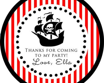 Pirate Themed Party Captain Thank You PERSONALIZED Stickers, Tags, Labels, or Cupcake Toppers, various sizes, printed & shipped