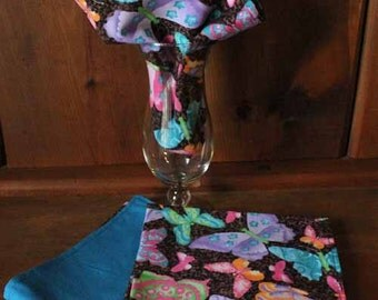 Modern Brightly Colored Butterflies Glass Gem Reversible Cloth Napkins - Set of 4