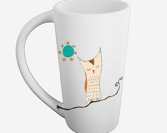 Napping owl mug kiln fired pottery latte cup choose colored or black and white