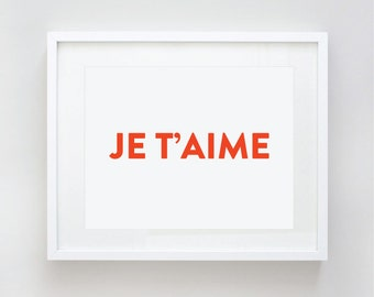 Je t'aime, I love you, Ti Amo, Eu te amo, Say I Love You in your language Print by Le Papier Studio