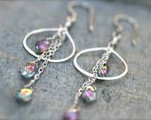 Pink Mystic Topaz Aurora Borealis Gemstone Sterling Silver Tassel Wire Wrapped Earrings, Boho Chic