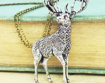 Stag Necklace. Antiqued Pewter Pendant and Antiqued Bronze Chain Necklace Pendant.