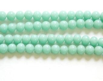 Vintage Green Turquoise Glass Beads Japan 6mm (10)  jpn001L