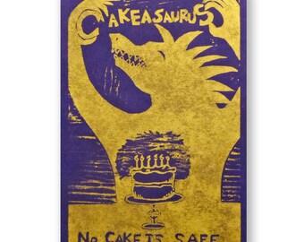 No Cake is Safe (original woodblock silver cobalt)