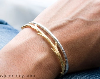 Plated Gold Twig Cuff Bracelet Paired with Sterling Silver Raw Cuff Bracelet | Bracelet Set