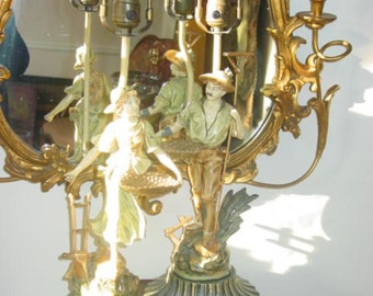Pair Of French Moreau style Antique Spelter Lamps.  REDUCED