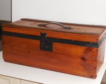 19th C. Civil War era Wood and Metal suitcase/ Small Trunk