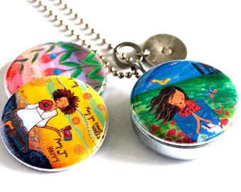 Travel Locket - Mirror Locket Necklace, Yoga Girl, Meditate, Flowers Blooming, Recycled Magnetic Jewelry by Polarity and Lori Portka