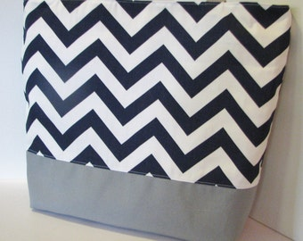 Set of 3 Chevron beach bag Totes . Navy Blue Gray or Design Your Own . Standard Size bridesmaid gifts Teacher gift MONOGRAMMING Available