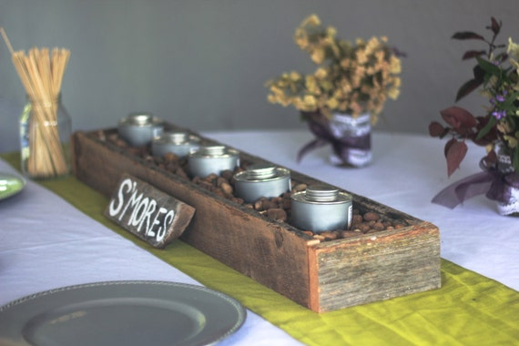 Barn Lumber Box For Smores Bar Flowers Candles Escort Cards