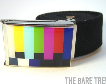 Color Bars TV Test pattern on Nickel Chrome Buckle with Black cotton web Belt