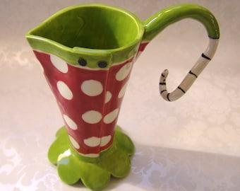 ceramic polka dot vase, pitcher, red & lime beetlejuice summer decor