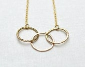 Gold Circle Necklace -  3 Linked Circles, 14KT Gold Fill, Interlocking Circles, Infinity, Classic, Delicate - BeadinByTheSea