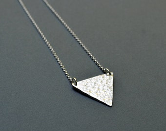 Silver Triangle Necklace - Pyramid, Sterling Silver, Hammered, Minimalist, Simple, Geometric, Fine Silver