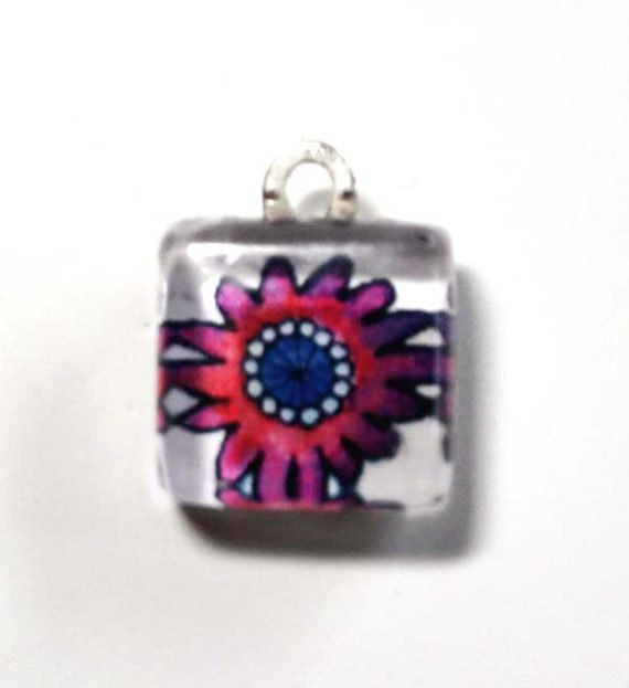 Whimsical Pink Flower... Small Glass Bead Charm for DIY Jewelery