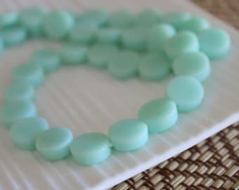 Small Resin Coin Beads - Mint Blue - 10mm x 30