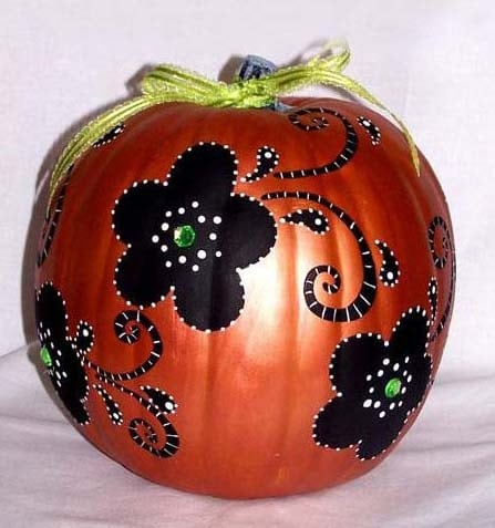 Pumpkin painted pumpkin floral pumpkin by boutiquewhimsy Flower painted pumpkins