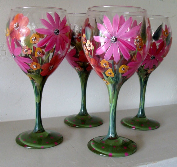 Items similar to wine glasses hand painted pink and orange for Type of paint to use on wine glasses