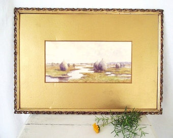 Antique Watercolor Painting -Mary Loring Warner - Listed Artist - Salt Marsh Hay - Connecticut - Vintage Original