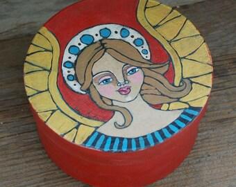 Original Folk Art Angel Trinket Box