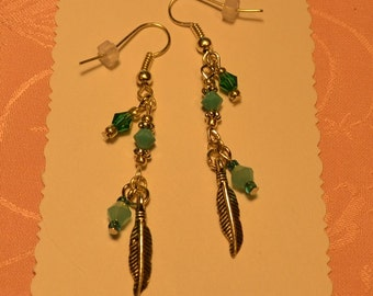 Feather and Turquoise Silver Earrings
