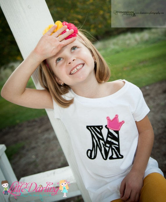 Personalized Princess Crown Alpha Shirt Applique Embroidery