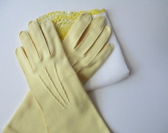Vintage Lady Gay Osborn Pale Yellow Gloves - Classic Tea Party Style