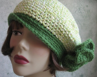 Crochet Pattern Womens Banded Beret With Large Flower Trim PDF May Resell Finished Instant Download