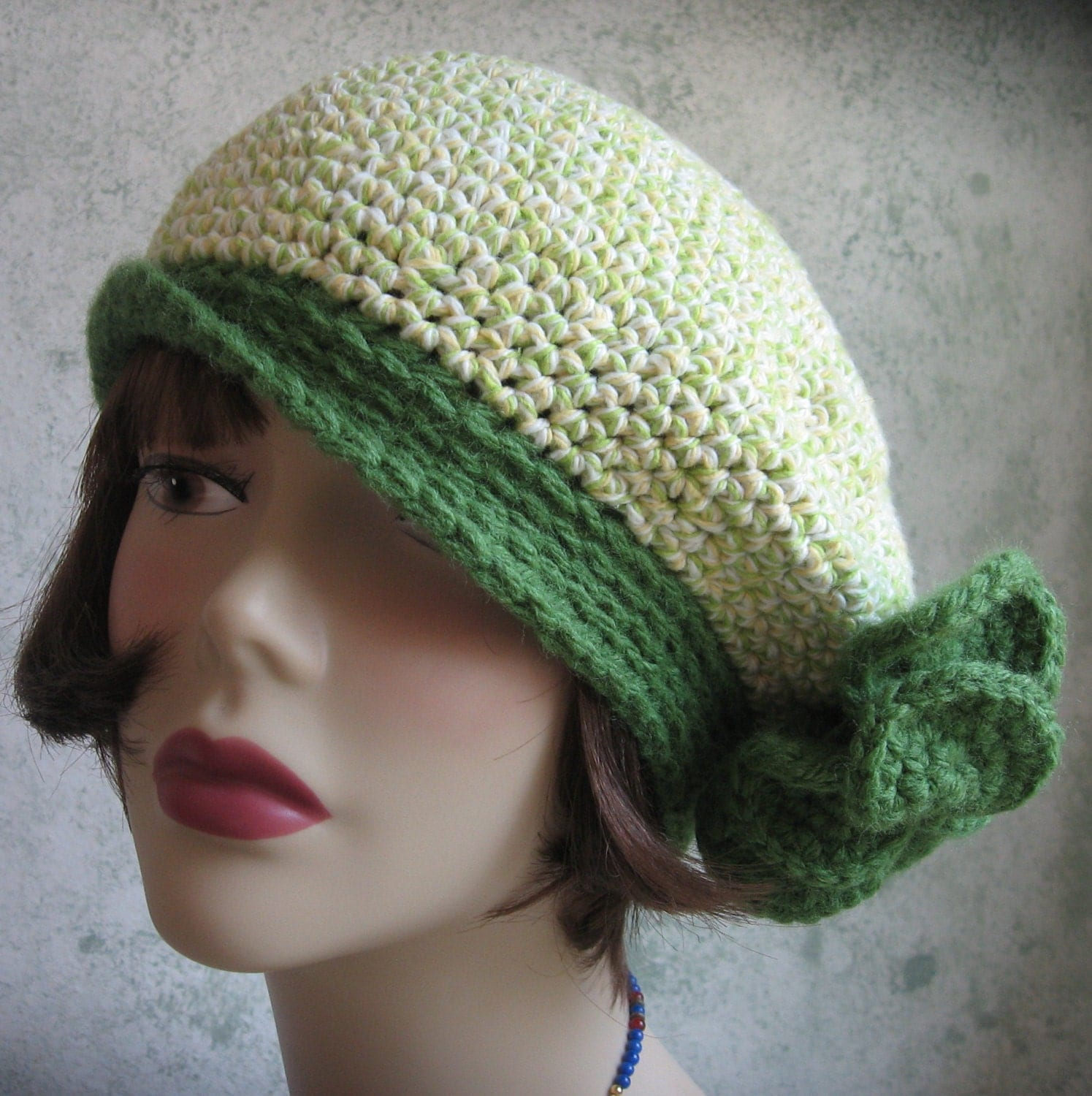 Crochet Pattern Womens Banded Beret With Large Flower Trim PDF
