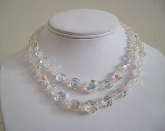 double stranded ice,  vintage 1960s Cocktail Party Necklace -crystal, iridescent, Aurora Borealis,  glass, beaded, princess, faceted