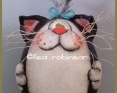 FRANCES hand painted tuxedo kitty cat egg gourd hp black white original teamhaha ofg prim chick HAFAIR lisa robinson