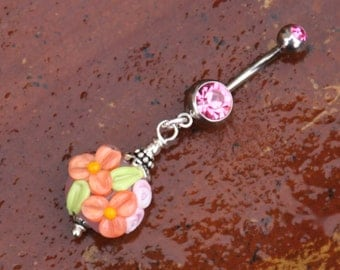 Peach on Pink Daisies N Roses Flowers Floral SRA Lampwork DeSIGNeR Belly Button Ring So Pretty and Feminine