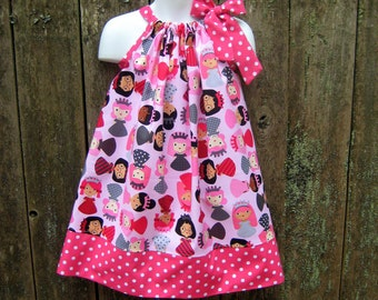 Girlfriends Pink Polka Dot Princesses Pillowcase Dress, Sizes 3M  up to 6 years