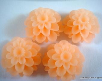 4 Orange Cabochon Flower Dahlia 20mm - No Holes - 4 pc - CA2020-OR4-AG