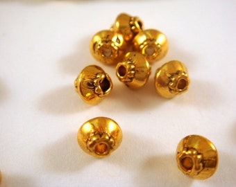 25 Antique Gold Spacer Beads Bicone Saucer 4x4mm Plated Alloy LF/NF - 25 pc - M7044-AG25