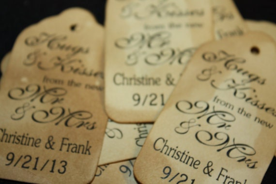 Hugs and Kisses from the New Mr and Mrs 100 Favor Tags SCRIPT MEDIUM tag size