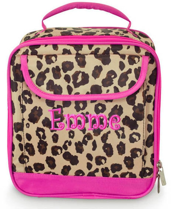 Girls Personalized Lunch Bag Pink Leopard Cheetah Monogrammed