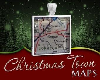 Evergreen, Alabama | Christmas Town Map Pendant