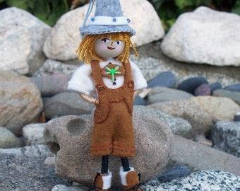 Felt Art Doll Hanging Ornament - Oktoberfest Piksee, Handmade Felt Ornaments, Felt Gnomes