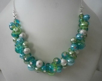 Blue Green and Silver Cluster Necklace and Earrings