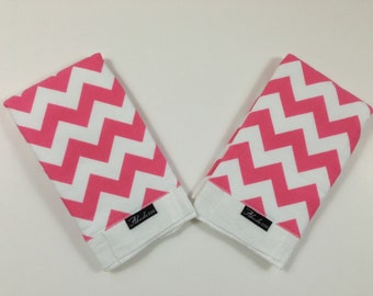 Hot Pink Chevron Baby Burp Cloth Set (2)