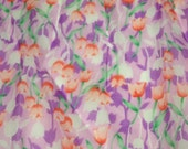 vintage 70s sheer chiffon fabric featuring lovely tulip motif, 1 yard, 3 available priced PER YARD
