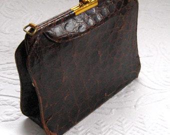 Leather  Purse . 30s bullet purse . brown 30s purse