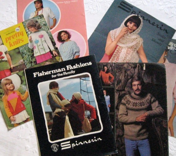 Old Knitting Pattern Books : Vintage 70s Knitting Pattern Books by vintagous on Etsy